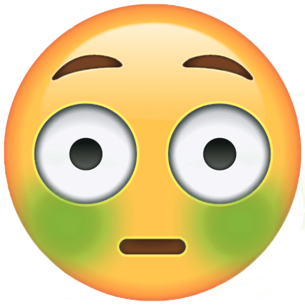 An emoji looking ill with green cheeks and a slightly shocked expresssion